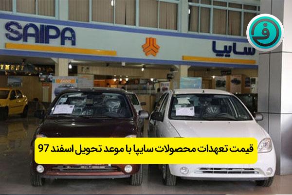 قیمت تعهدات محصولات سایپا با موعد تحویل اسفند ۹۷